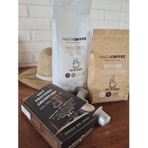 Kit Degustação (10 cápsulas + 750g de café em grãos ou moído)